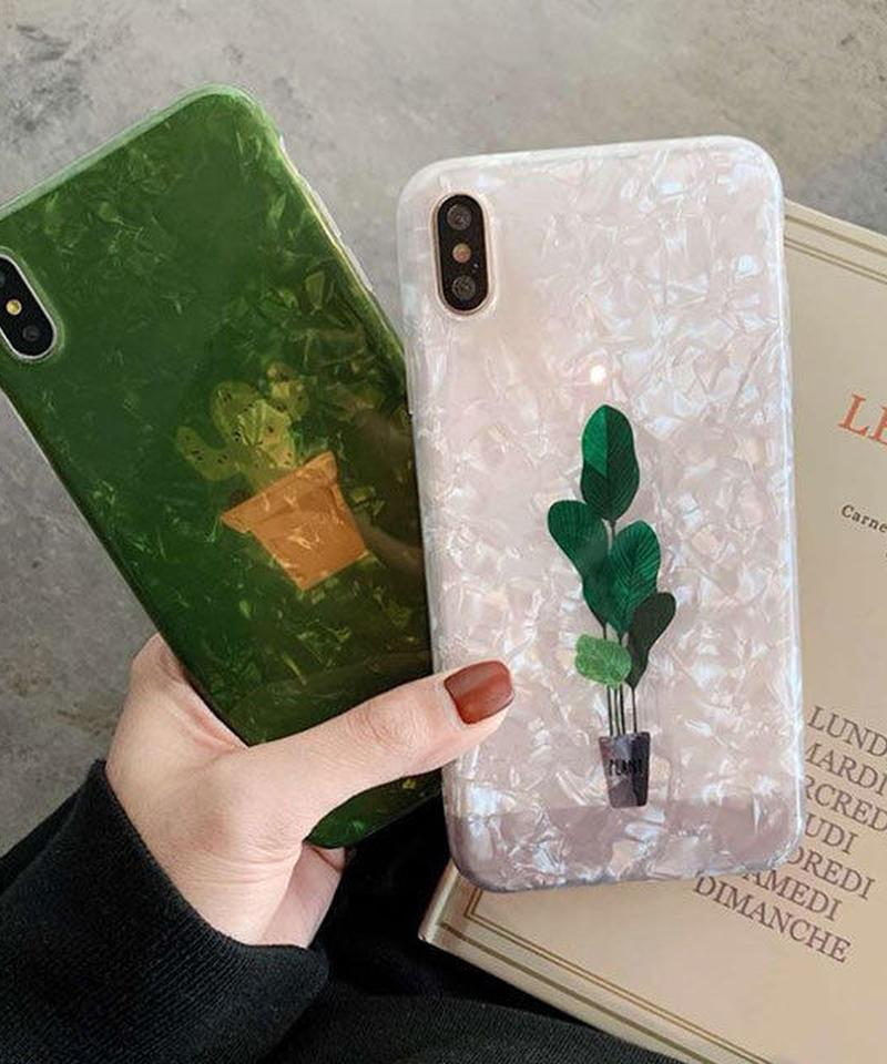 mb- iphone-02539 シェル風 サボテン リーフ iPhoneケース