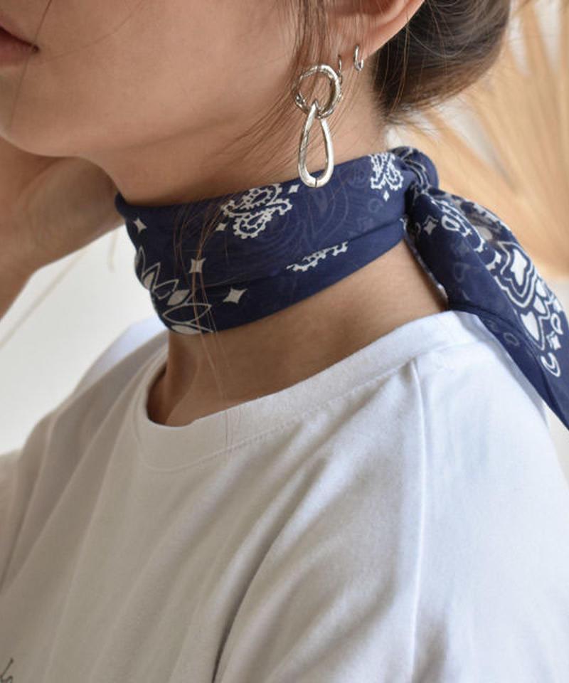 mb-scarf-02001 シルクコットン ペイズリー柄スカーフ ネイビー