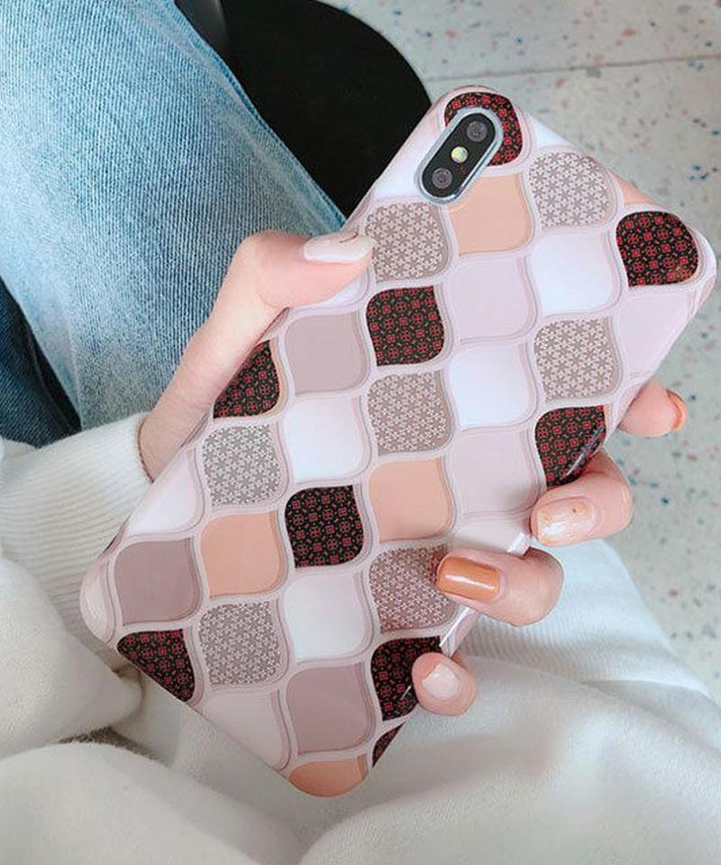 mb- iphone-02252  モロッカン柄 ピンクベージュ iPhoneケース