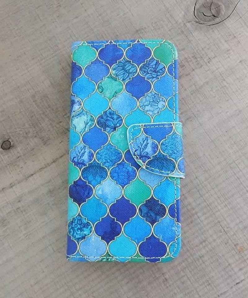 mb-iphone-02203 手帳型 モロッカン柄 モザイクタイル モロッコタイル ブルー カード収納付き iPhoneケース