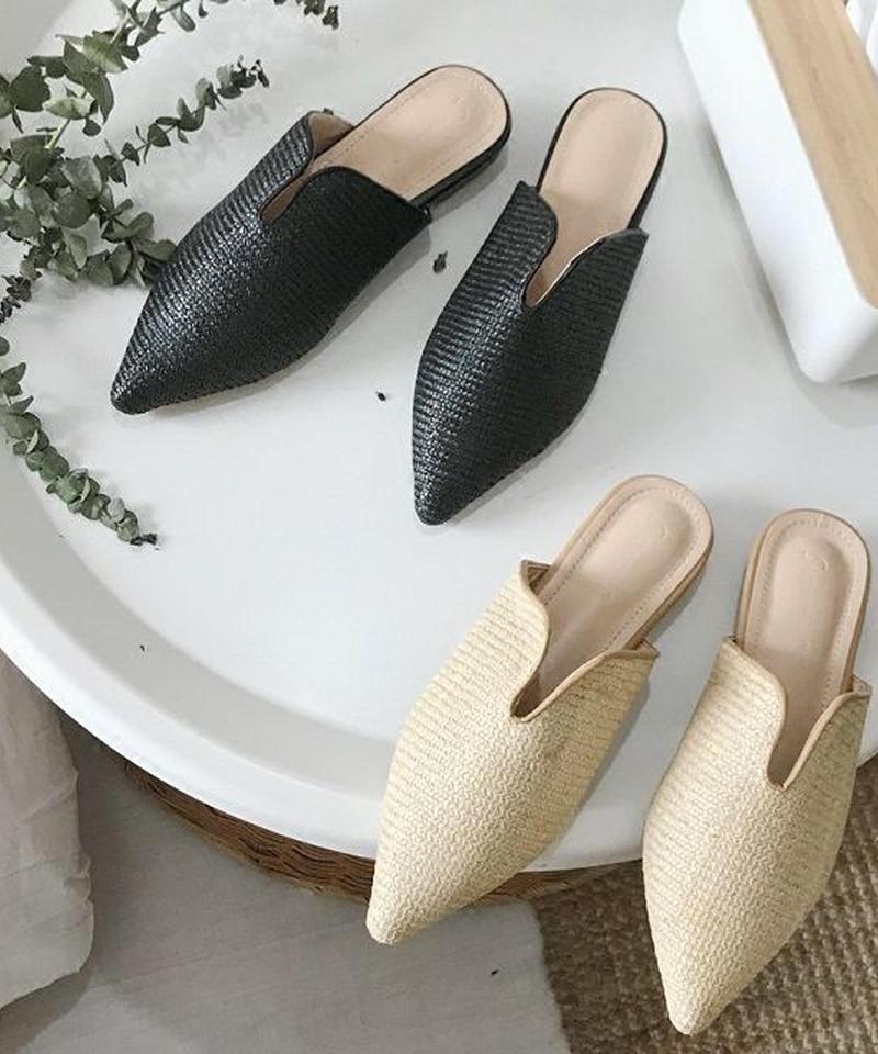 shoes-02002  ストローバブーシュサンダル ポインテッドトゥ Vカット ぺたんこ靴 フラットシューズ