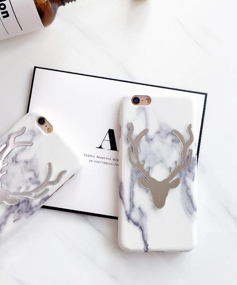 mb-iphone-02242 トナカイ 大理石柄 マーブル柄 天然石柄 ストーン柄 iPhoneケース
