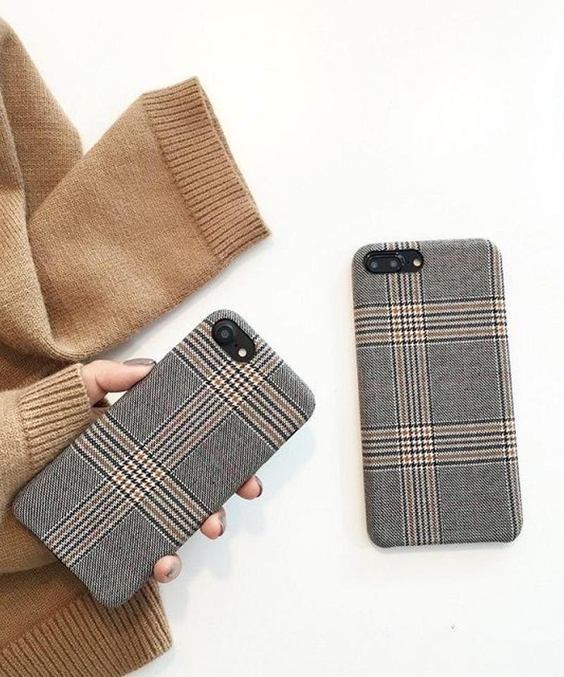 mb-iphone-02399 グレンチェック ファブリック  iPhoneケース