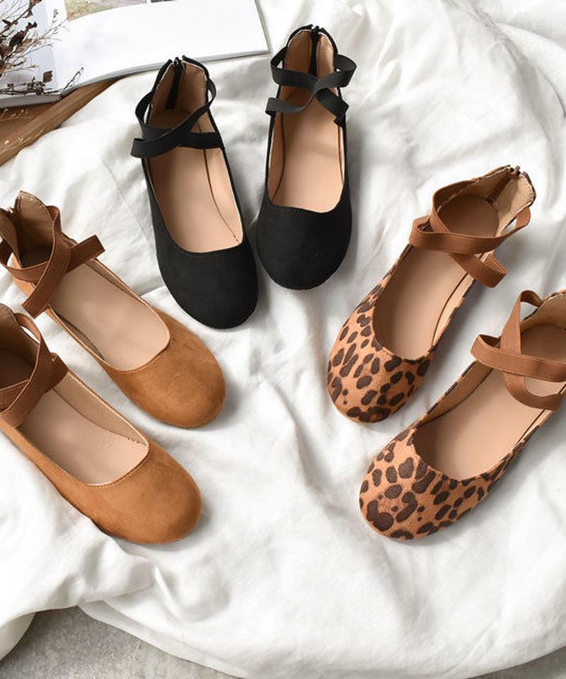 shoes-02046 フェイクスエード ストラップバレエシューズ ブラック ブラウン ヒョウ柄 レオパード柄