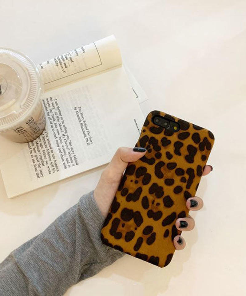 mb-iphone-02509 起毛素材 レオパード柄 ヒョウ柄 iPhoneケース