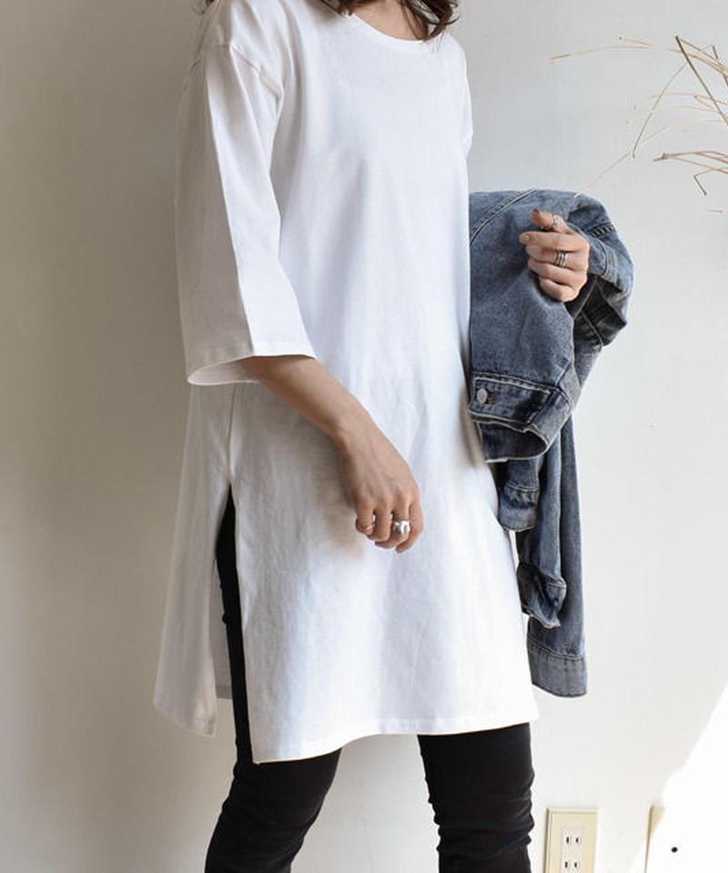5月上旬~5月中旬入荷分 予約販売 tops-02040 オーバーサイズ 7分袖スリットTシャツ ホワイト