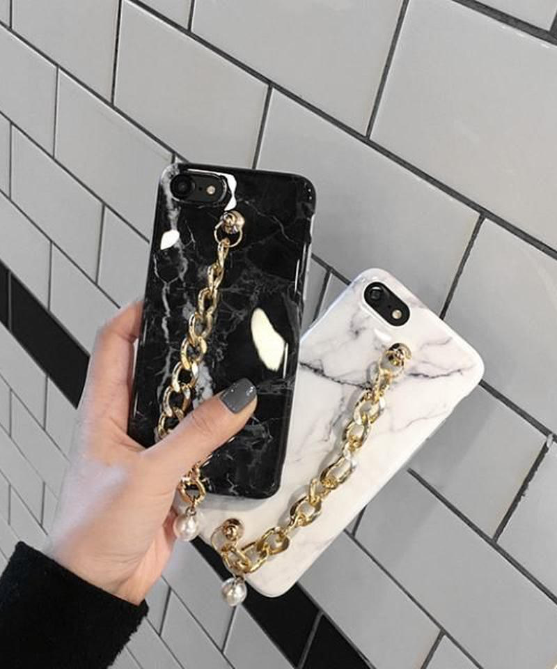 mb-iphone-02346 大理石風 チェーンベルト付き マーブル柄 天然石柄 ストーン柄 iPhoneケース