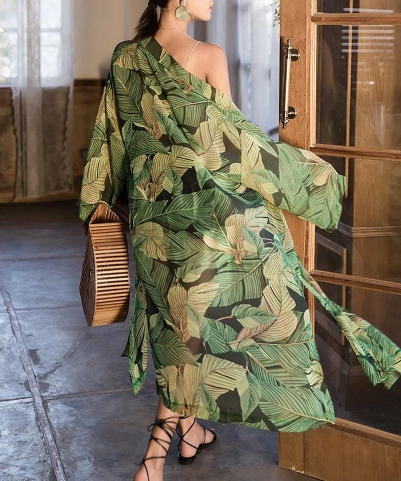 nh-gown-02004 リーフ柄 ロングガウン カバーアップ レディース