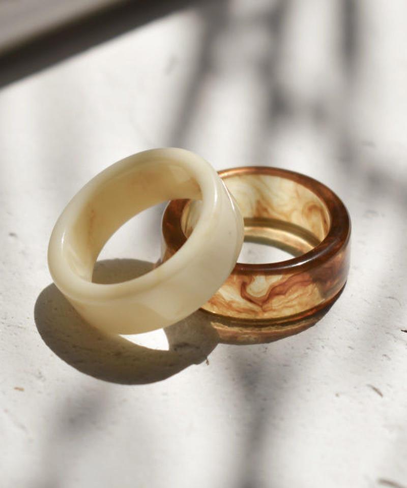 mb-ring2-02080 アクリルリング 2個セット ベージュマーブル クリアブラウンマーブル