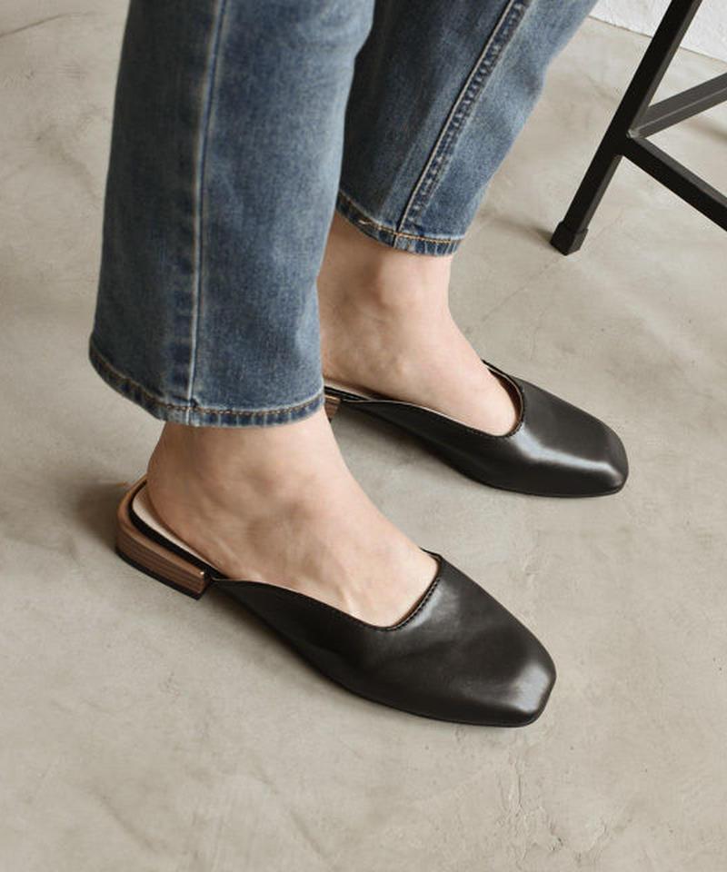 shoes-02063 スクエアカット ミュール ホワイト ブラック