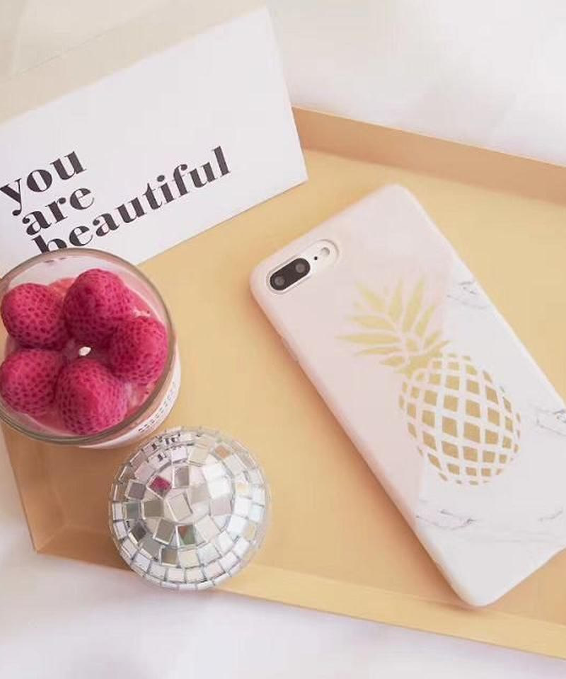 mb-iphone-02383 パイナップル×大理石柄 ミックス iPhoneケース
