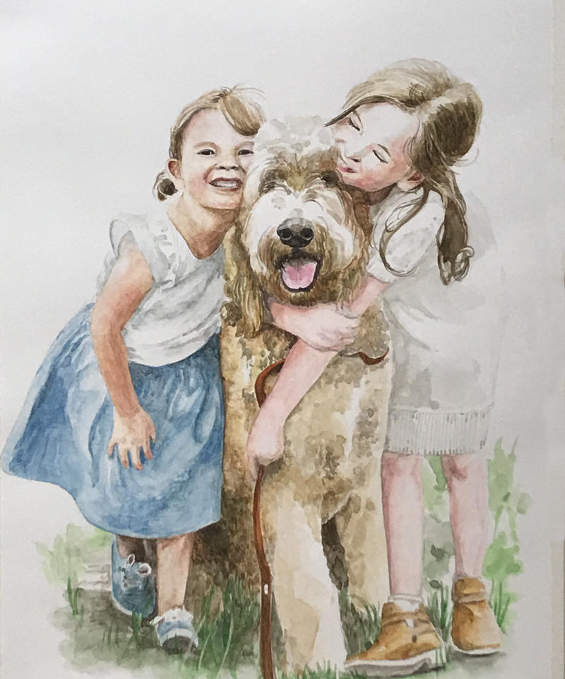 家族の肖像画  (A4・2人と1匹)
