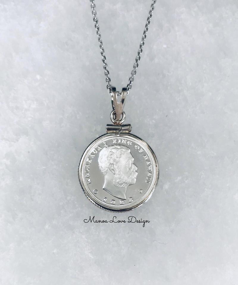 シルバー.999純銀  1点物 カラカウア王 ハワイコインネックレス($258)