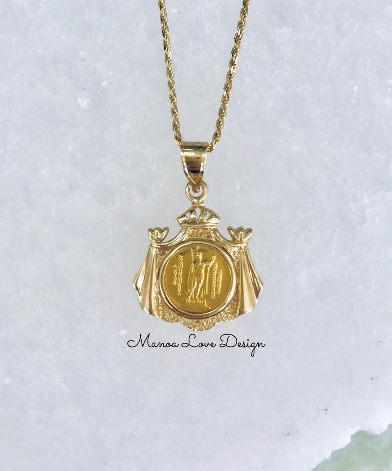 24K 幻の1点物 キングカメハメハコイン ハワイ王国紋章 ハワイコイン ペンダントトップ ($3400)