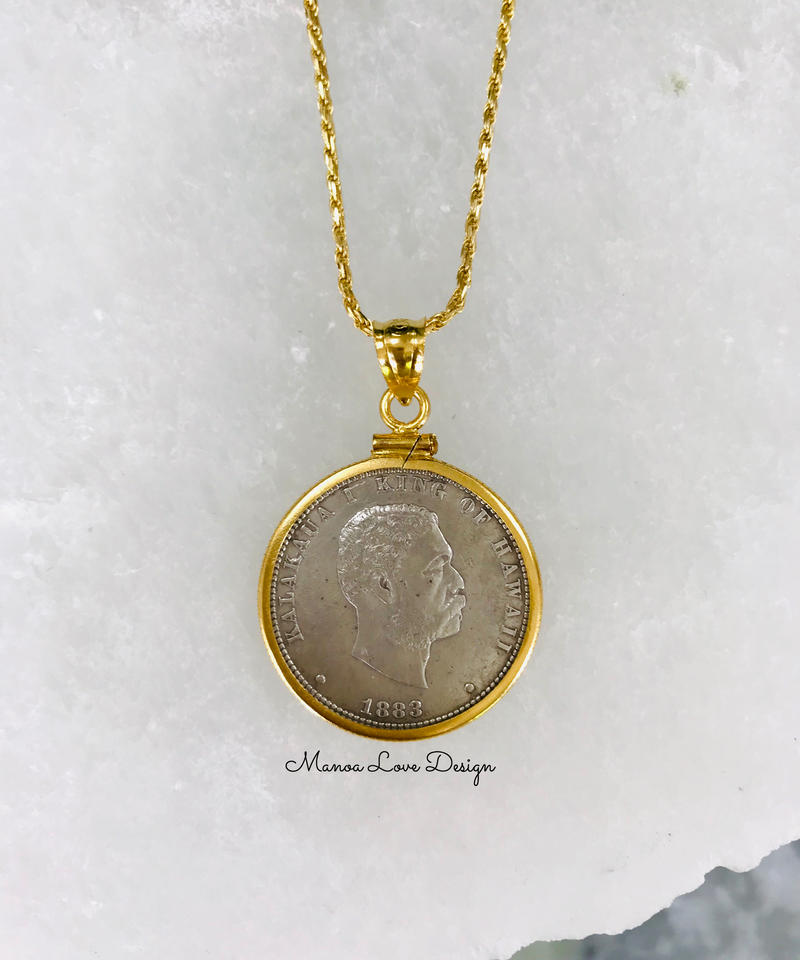 1883年 1点物 カラカウアキング ハワイアン25㌣ ハワイコイン 14K  ペンダントトップ ($720)