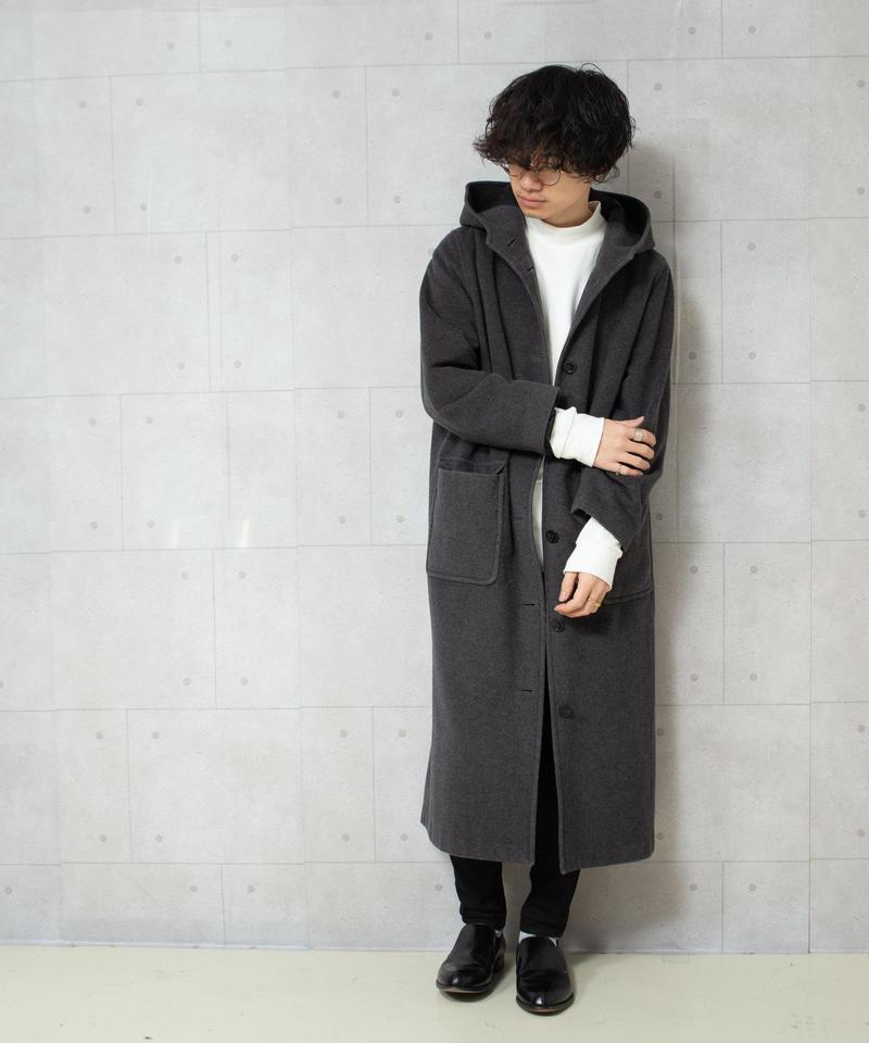 カシミア混ビッグサイズフーデッドコート