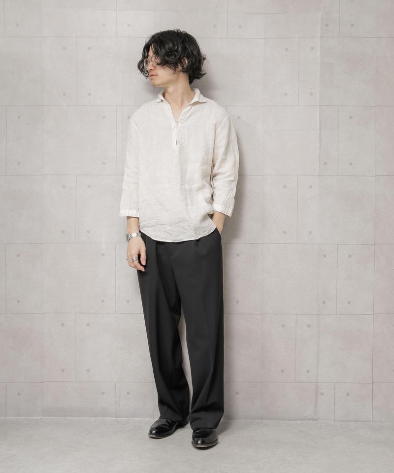【SHIPS】リネン 7スリーブ カプリ シャツ