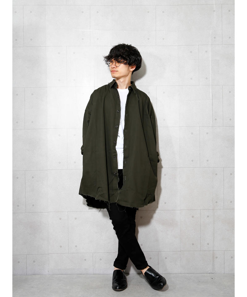 【MBLR】ダメージ加工ビッグミリタリーシャツ