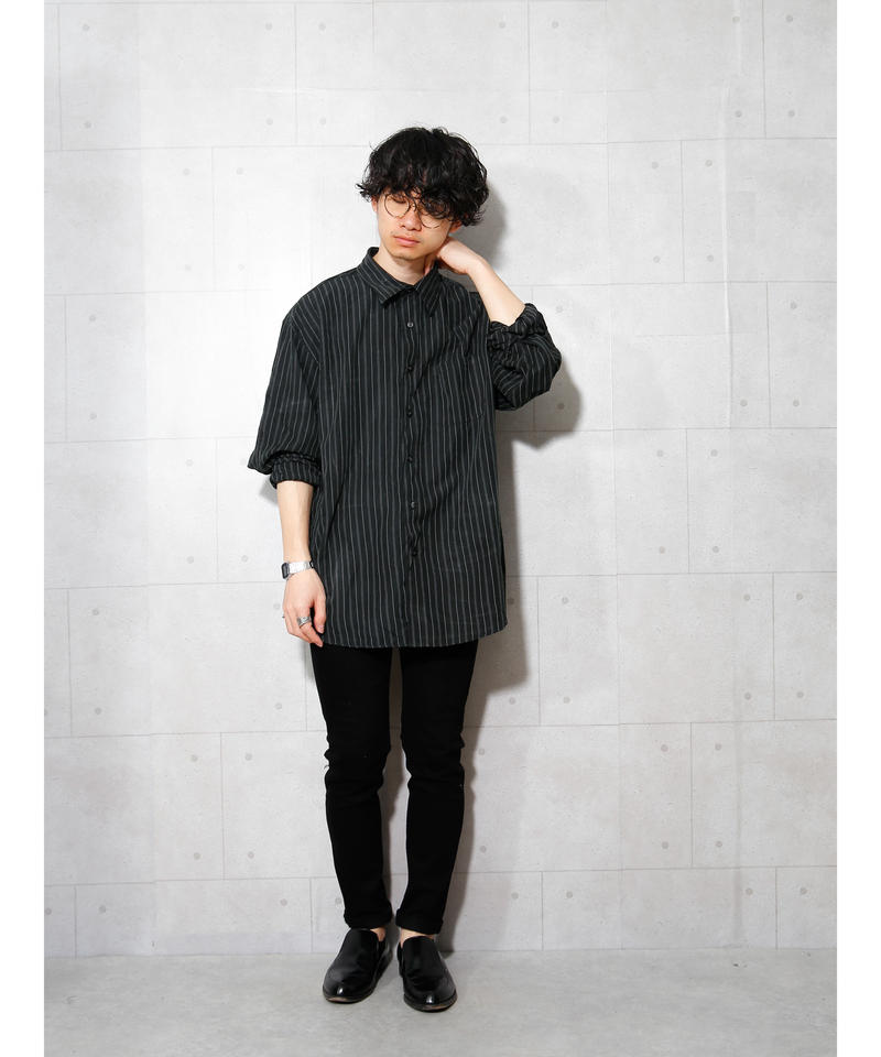ブラックストライプビッグシャツ