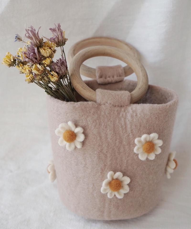 Wool felted daisy mini handbag