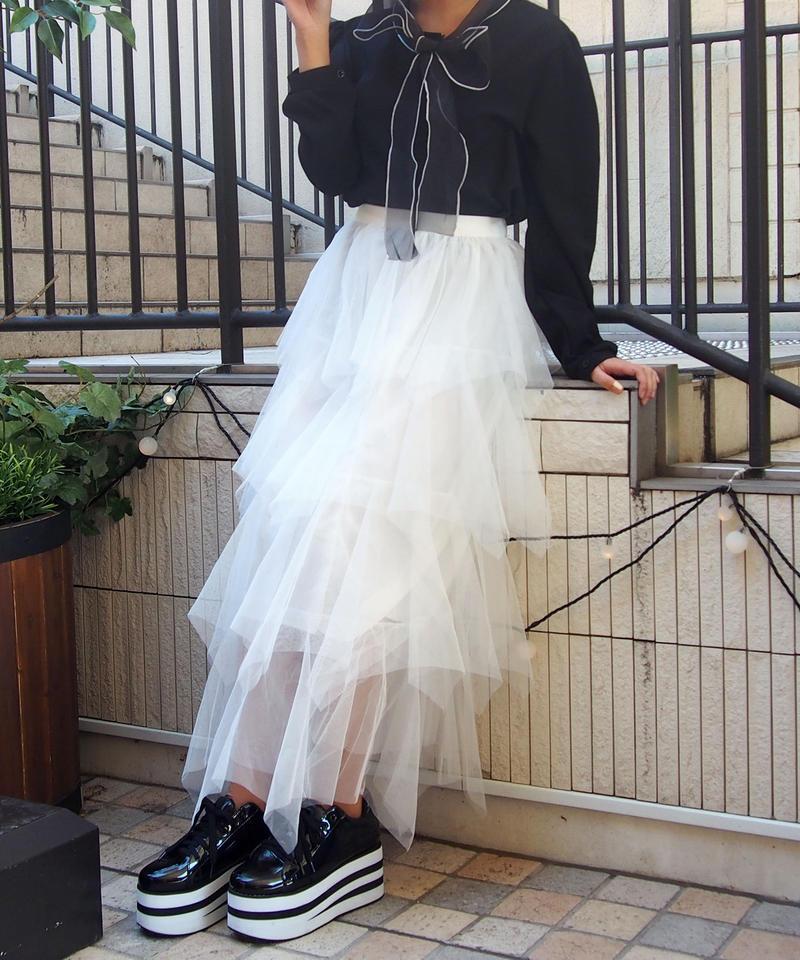 チュール段ロングスカート