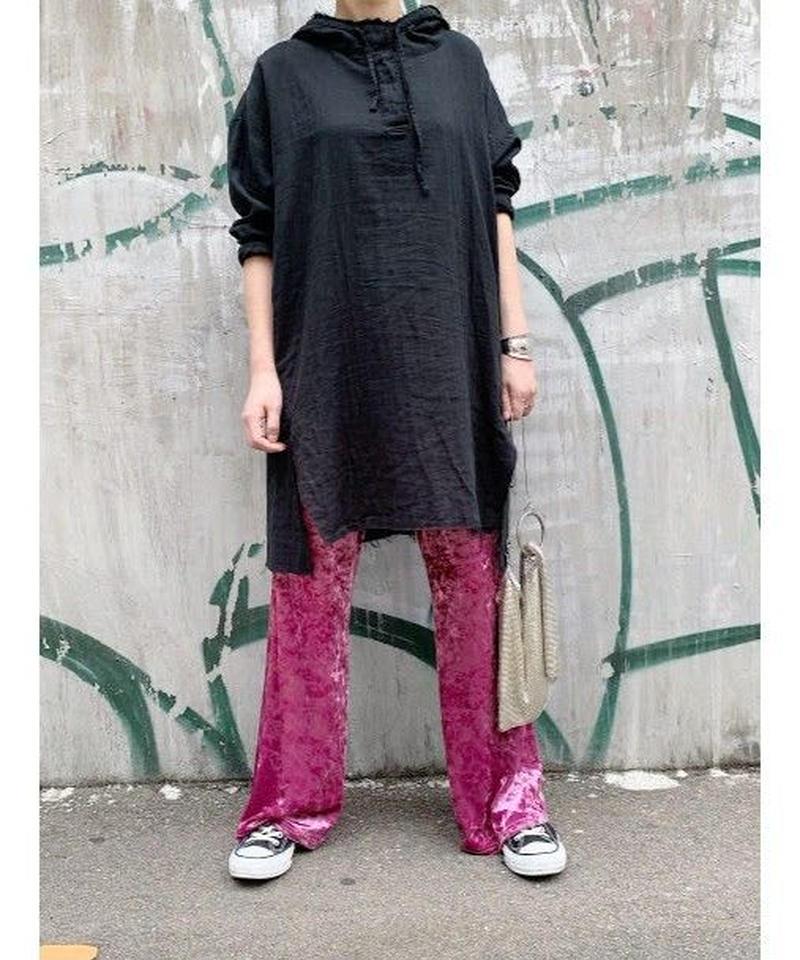 【予約販売】gauze damage hoodie   (black)