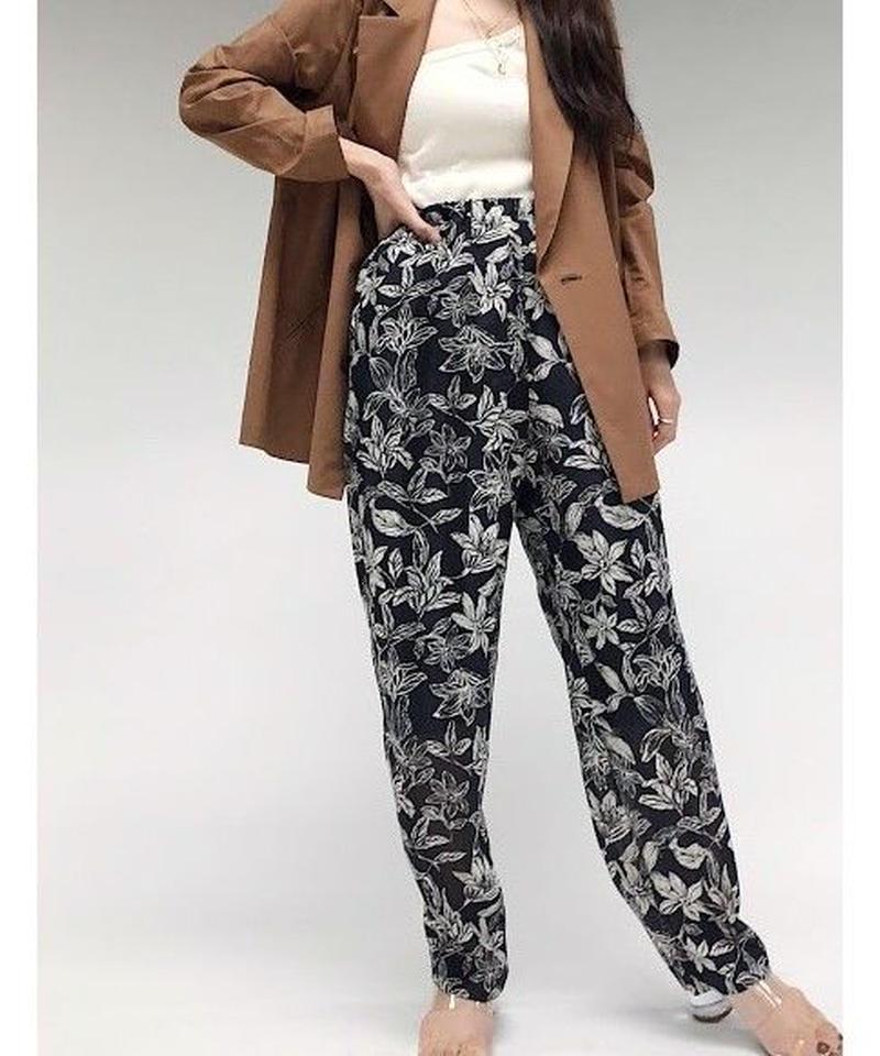 pattern relax pants (black)