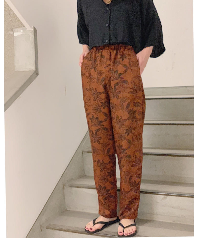 pattern relax pants (brown)