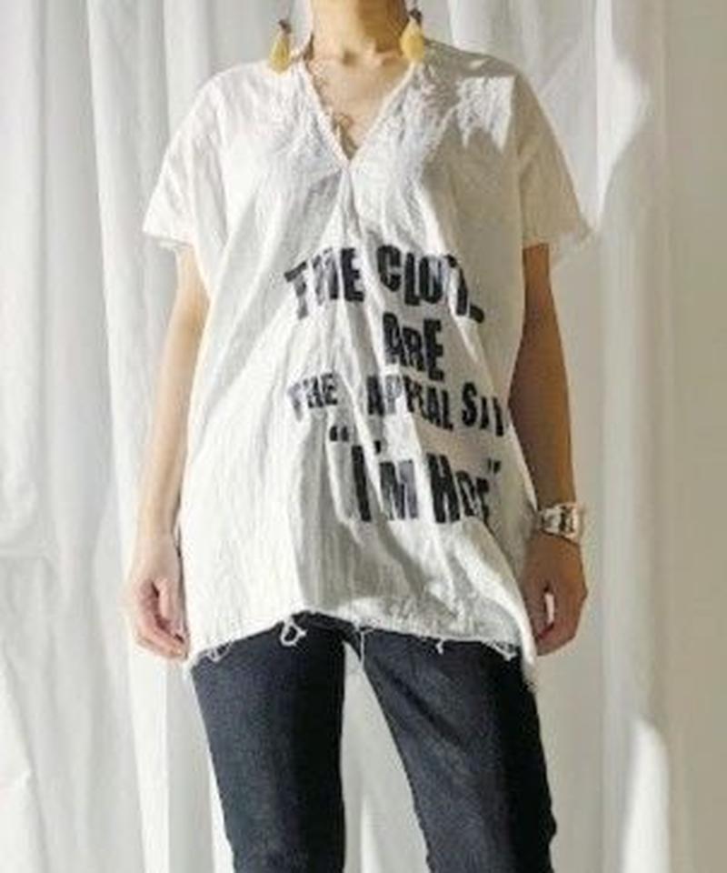 gauze logo print blouse  (off white)