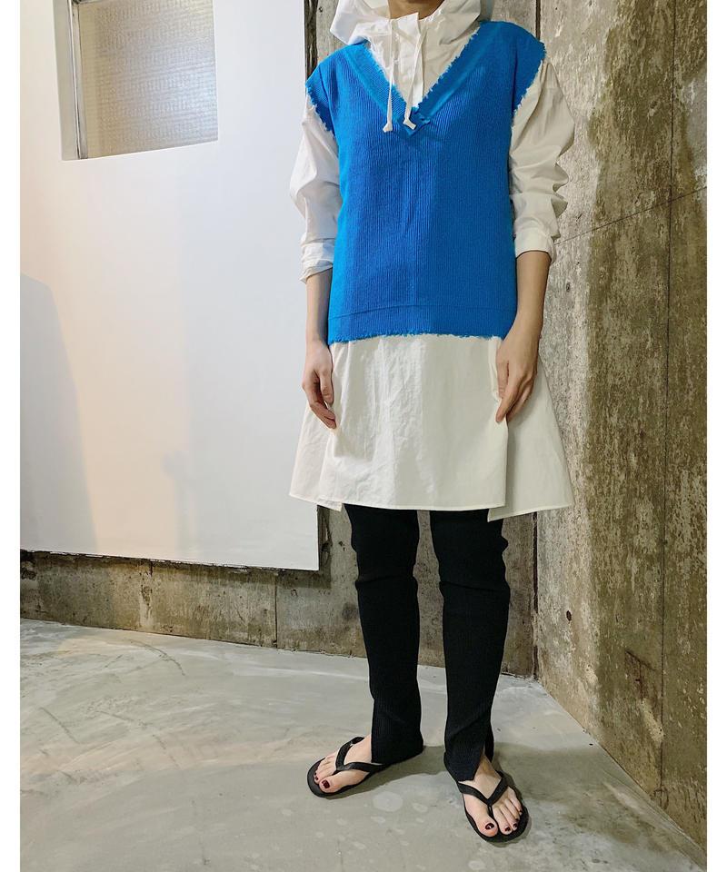damage knit vest  (BLUE)