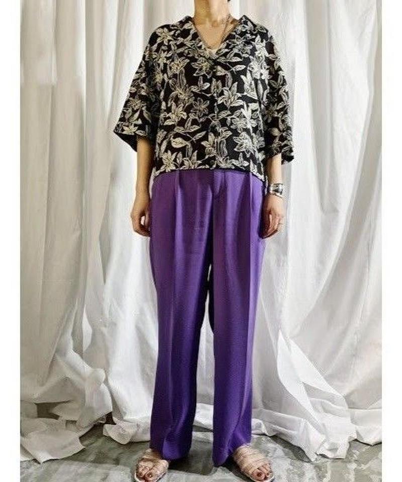 open collar pattern shirt(black)