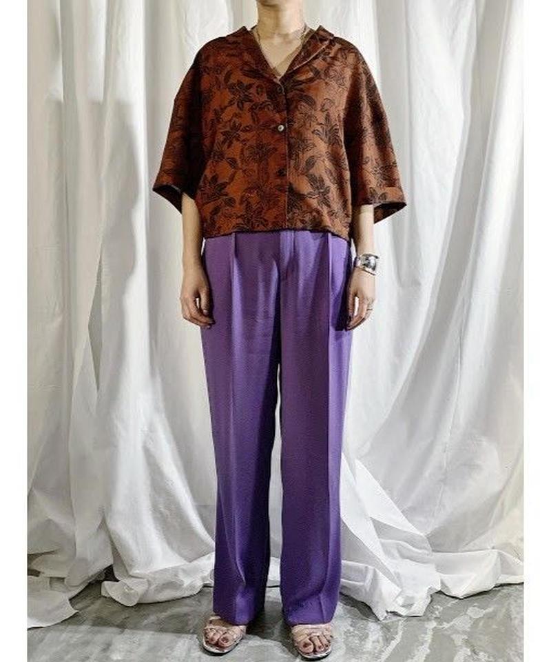 open collar pattern shirt(brown)