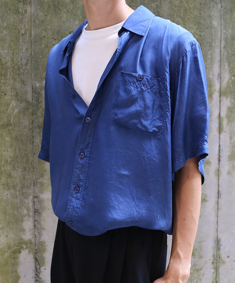 [USED] SILK SHIRT (NAVY2)
