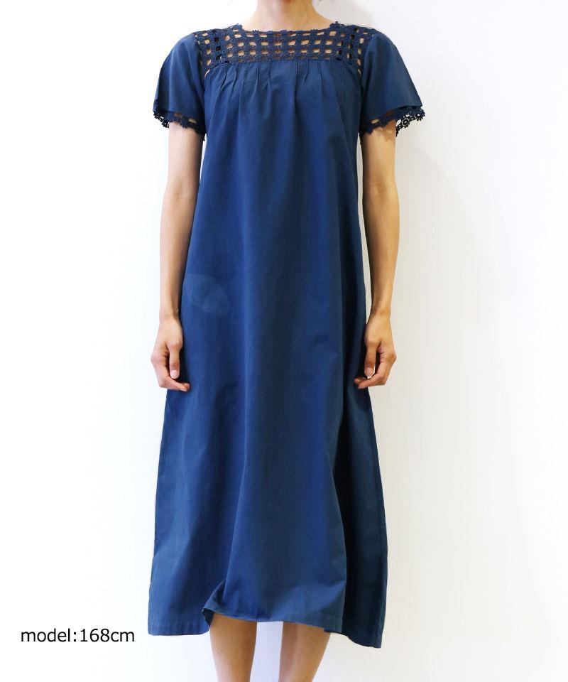 [MEND] 天然草木染め(藍染め) LINEN S/S ONE PIECE (AI3)