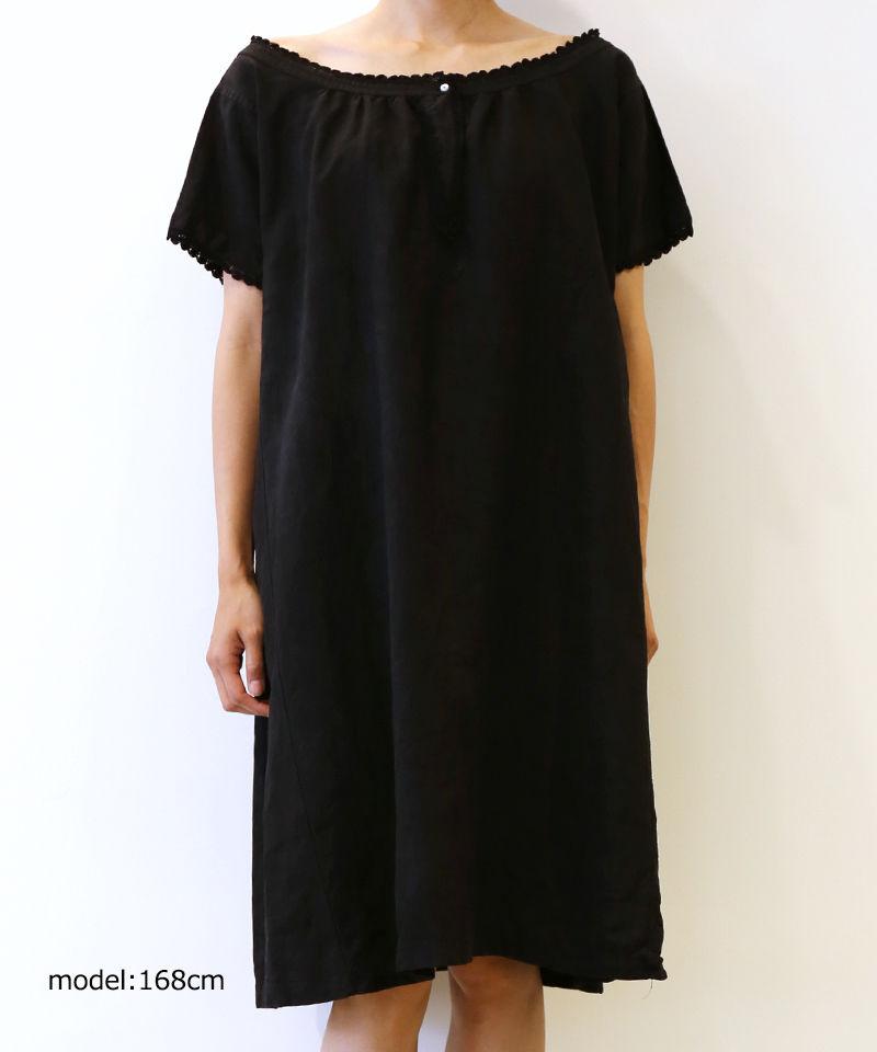 [MEND] 黒染め LINEN S/S ONE PIECE (KURO4)