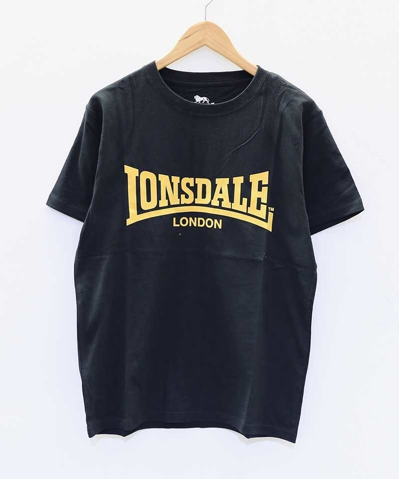LONSDALE FLOCKY PRINT TEE(53 CHACOALE)