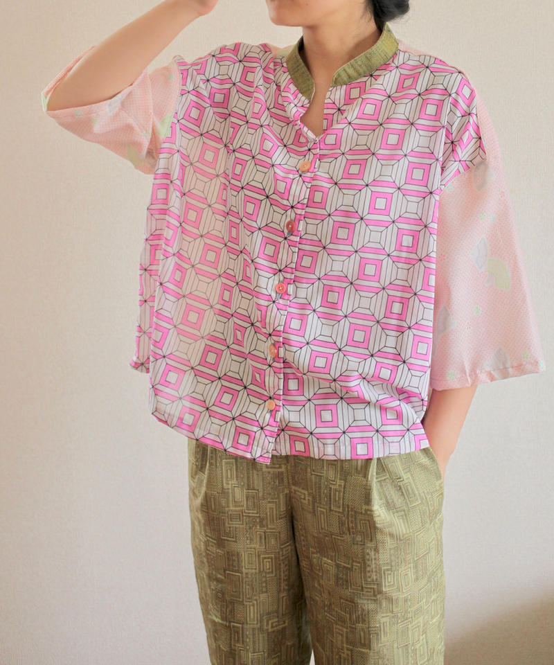 Nostalgic Pink summer casual blouse (no.167)