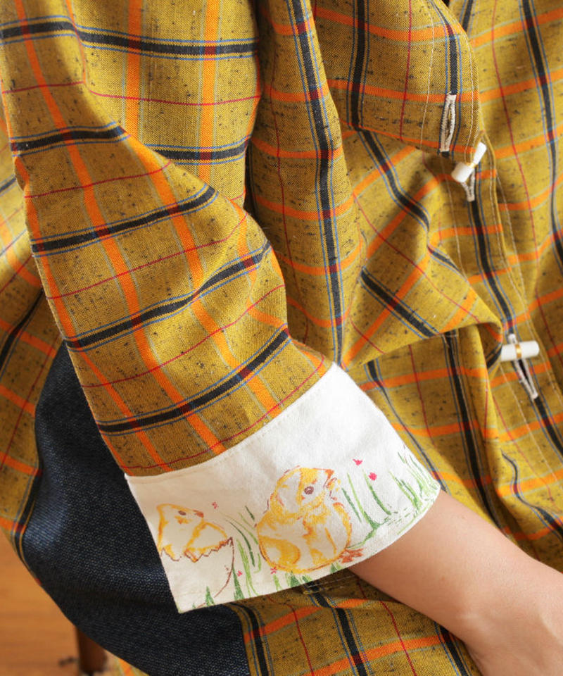 Retro yellow check Kimono & chick bird Long Jacket (no.217)