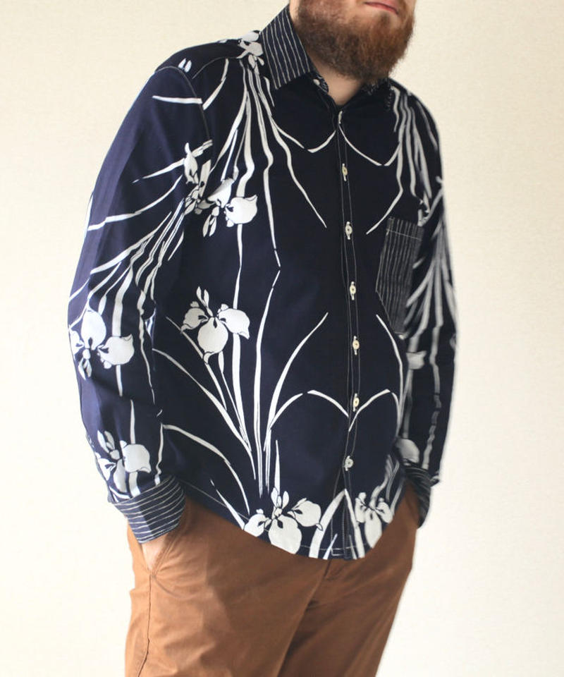 Men's Iris pattern casual shirt (no.086)