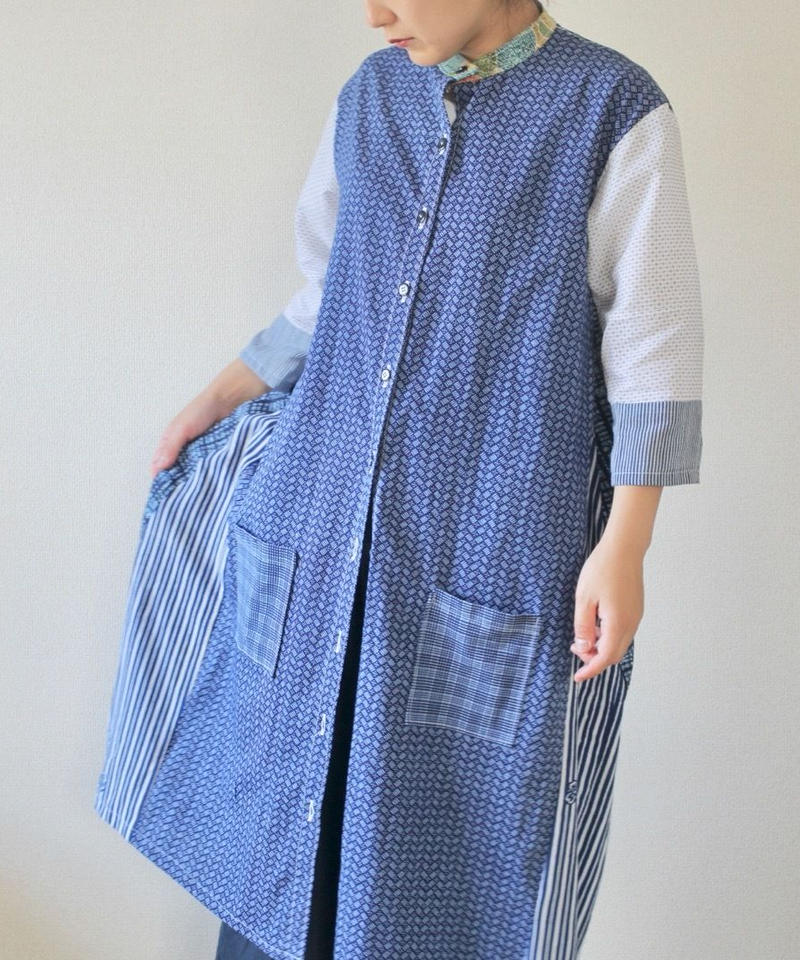 Blue & White yukata Long jacket style shirt dress (no.195)