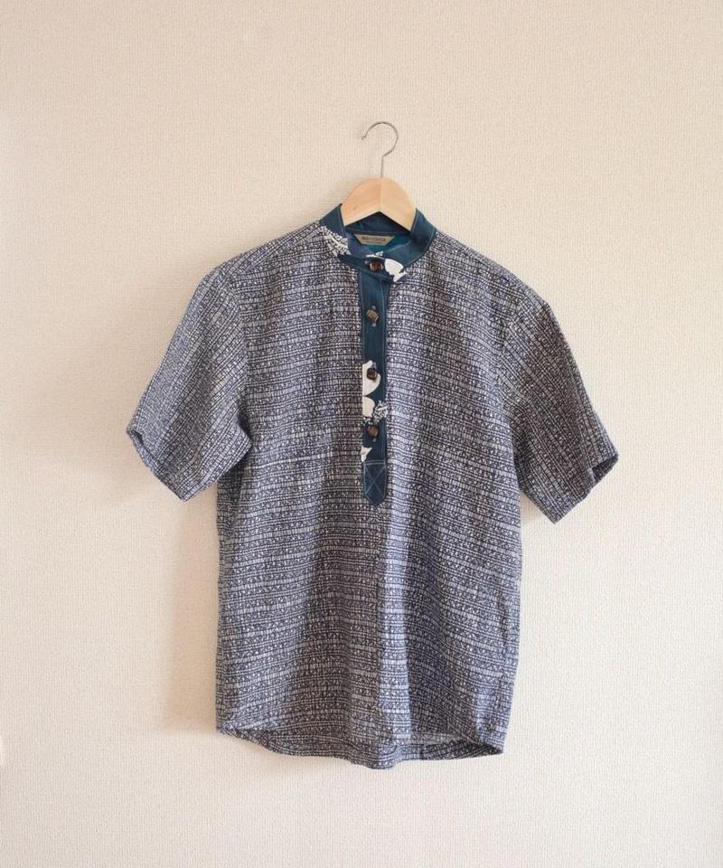 Men's Yukata fabric half placket shirt (no.171)