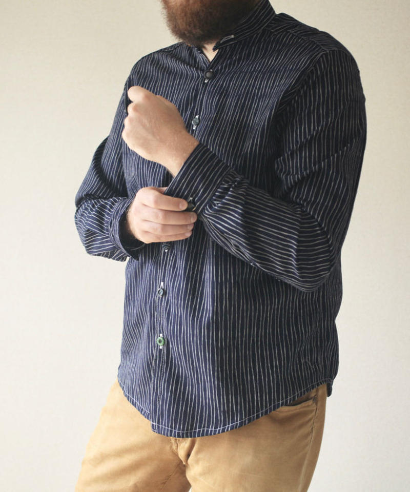 Men's Stripe Kimono cotton shirt (no.089)
