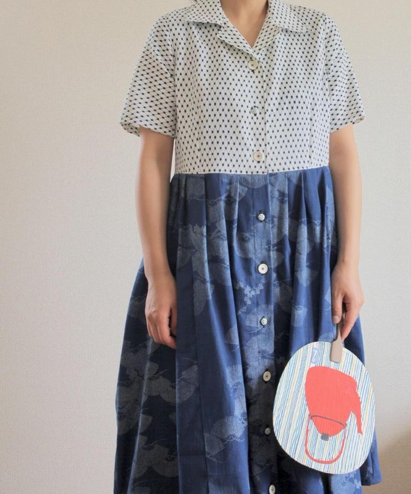 Dots & Blue Kimono Summer Short Sleeves Dress (no.302)