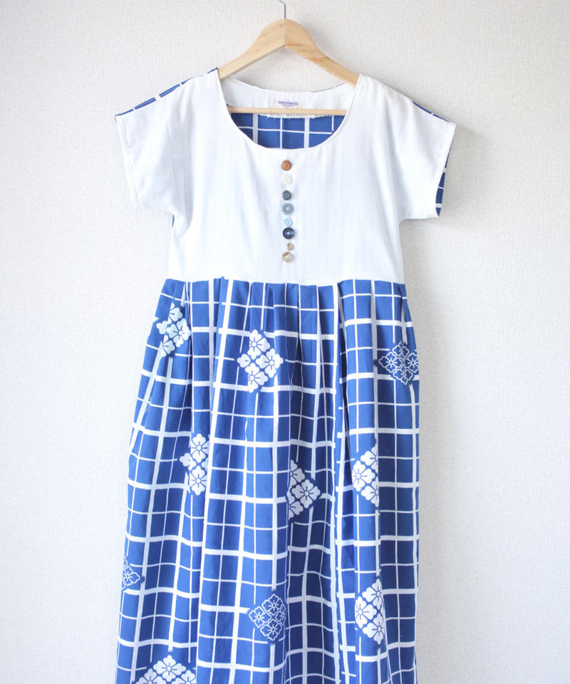 Summer white x blue one-piece dress (no.041)