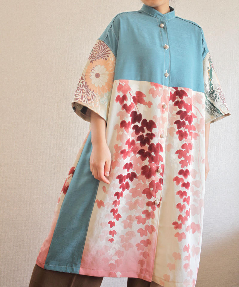 Soft Blue x Leaf pattern Kimono shirt dress (no.285)