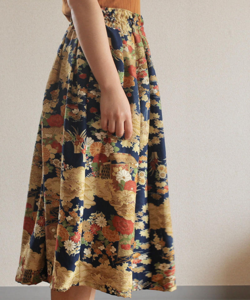 Dark blue x flower pattern Kimono Skirt (no.247)