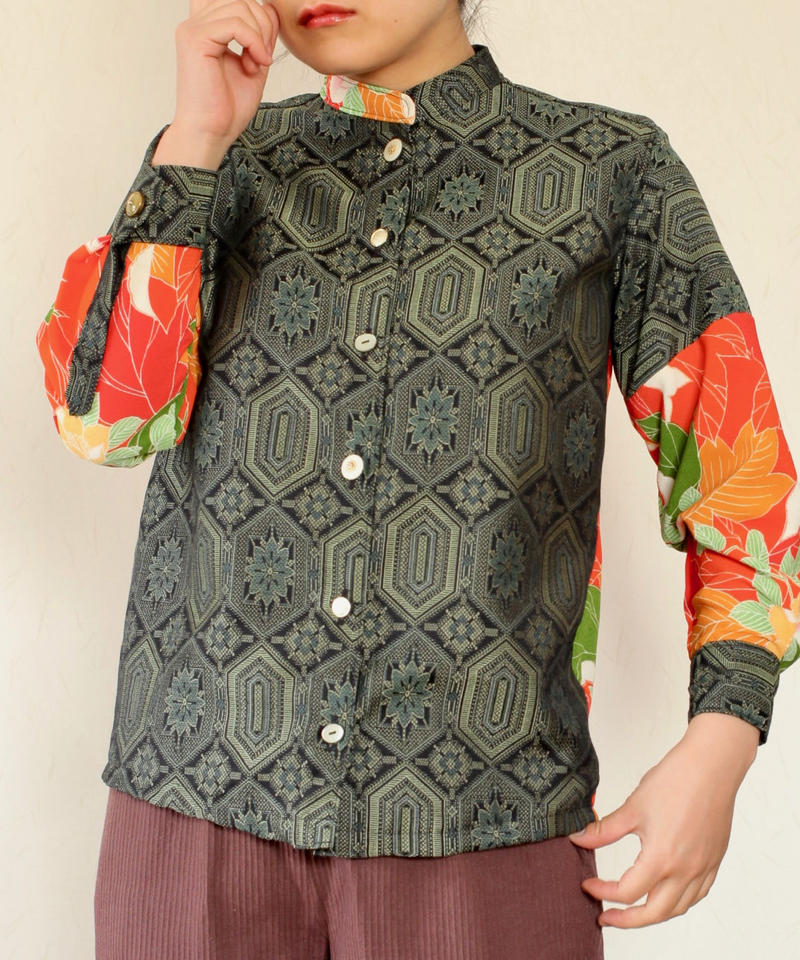 Dark green & Orange flower pattern kimono Shirt (no.255)
