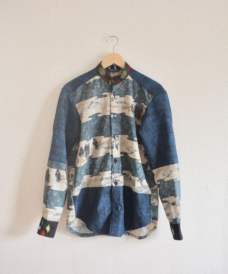 Japanese original scenery & Blue Kimono casual shirt (no.238)