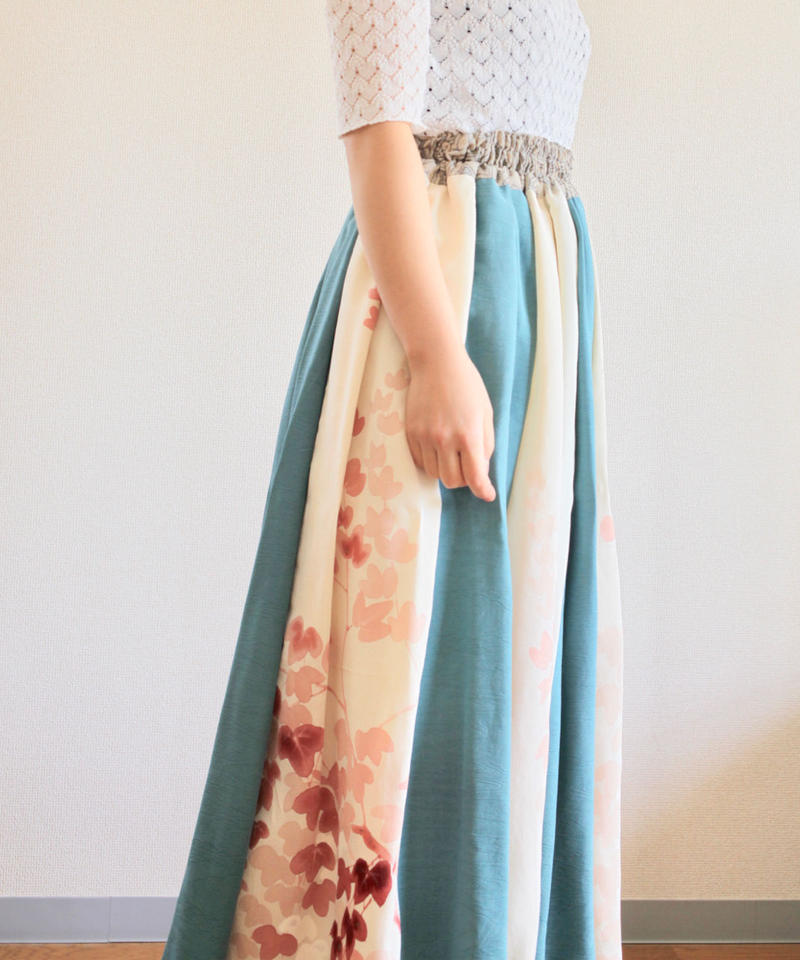 Leaf pattern & Blue Kimono maxi length Skirt (no.291)