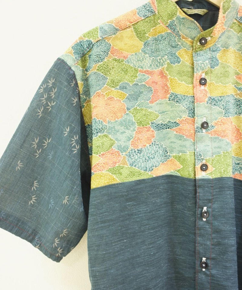 Men's Leaf pattern & dark blue thin kimono shirt (no.176)